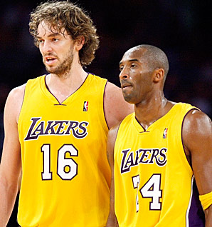 The new dynamic duo: Kobe Bryant and Pau Gasol teamed up to earn their championship this season.