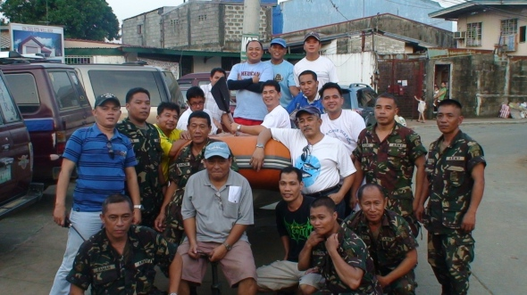 The MBBC Pastoral Staff Together With Some Philippine Army Soldiers Take A Pose During The Relief Ops We Had At Marikina